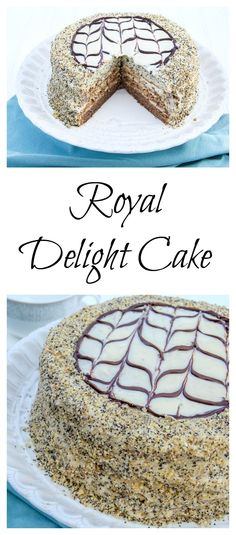 Layered Cake with a poppy seed layer, meringue layer and chocolate with a rich…