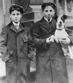 Young Groucho and Harpo Marx with their terrier. I mentally drew a mustache on Groucho then I saw the resemblance....hahahaha!