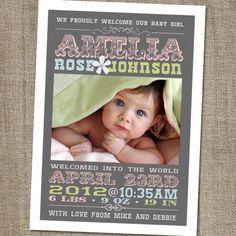 Pretty Retro Vintage Printable Girl Birth Announcement. $15.00, via Etsy.
