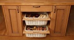 A set of two wicker baskets with oak surrounds to suit either or wide kitchen base units - quality wooden kitchens from Solid Wood Kitchen Cabinets. Wood Kitchen, Blue Kitchen Cabinets, Wicker Baskets Storage, Kitchen Remodel Small, Kitchen Baskets, Basket Drawers, Solid Wood Kitchens, Solid Wood Kitchen Cabinets, Kitchen Cabinets