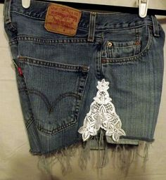 Sale Lace Legs Cut Offs Vintage High Waisted Blue Denim by twazzy