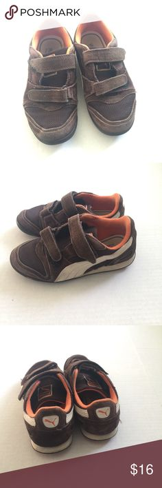 Puma sneakers Brown and orange suede velcro shoes son wore a lot see pictures Puma Shoes Sneakers