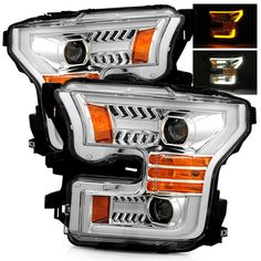 For 15-17 Ford F150 Switchback DRL/Signal LED Tube Chrome Projector Headlights #RacerInnovation