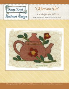 Afternoon Tea Wool Applique Download by Diane Knott LLC by DianeKnottLLC on Etsy