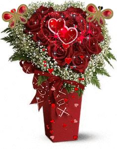 Valentine's Day Bouquet love red flowers hearts animated bouquet valentine's day happy valentine's day valentine greeting