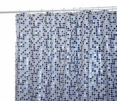 Famous Home Fashions Tiles Vinyl Shower Curtain, Black