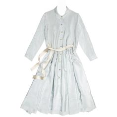 Preowned Prada Sky Blue Silk Shirt Dress ($2,000) ❤ liked on Polyvore featuring dresses, blue, long sleeve shirt dress, long dresses, striped dresses, long sleeve dress and shirt dresses