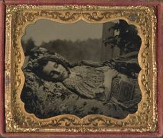 tuesday-johnson:  ca. 1860's, [beautiful, albeit tragic, post-mortem tintype portrait of a young woman] via Cowan's Auctions