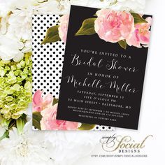 Pink Flowers and Black and White Polka Dots Calligraphy Font Bridal Shower Baby Shower Invitation PRINTABLE Invitation