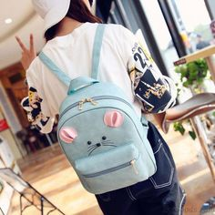 Cute Little Mouse Cartoon Rucksack PU Schoolbag Animal Backpack Gift Clutch