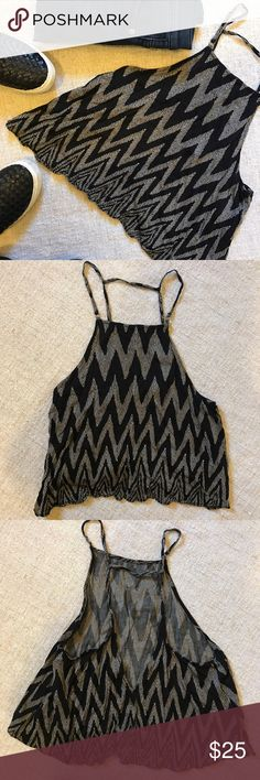"""Silence + Noise Crop Top Black and brown flowy Silence + Noise crop top. So cute, with an open back. This was perfect for the summer or spring with a cardigan - especially for any festivals. Size S. Length from neckline down is 14"""". Chest is 15.5"""". Excellent condition. silence + noise Tops Crop Tops"""