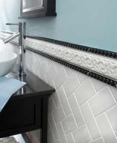 I Love The Herringbone Pattern Of White Subway Tile But Rope Trim Is