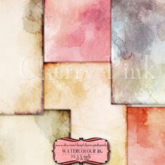 WATERCOLOUR collage sheet, 6 designs, supplies for scrapbooking collage digital download