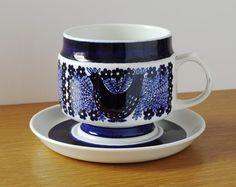 Arabia Finland Sinilintu / Bluebird Large Hand-painted Blue & White Pottery Breakfast Cup/Saucer; Raija Uosikkinen 1960s Mid-Century Modern