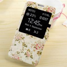 Girly Leather S View Flip Cover Case for Samsung Galaxy Note 3 N9000 Flowers