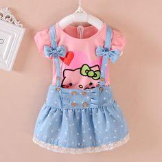 5d039e66f81 Привет котенок девочка платья дети девочки одежда детской одежды летние  2016 малышей комплект одежды свободного покроя