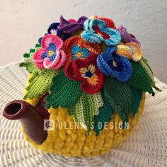 Crochet tea cozy yellow tea cover pansy flower tea cosy tea