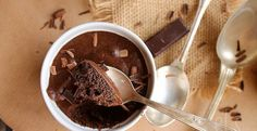 Chocolate mousse made from just chocolate, eggs and salt.