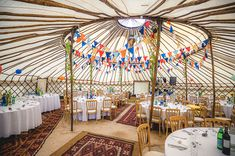 Bohemian Colourful Seaside Yurt Wedding Bunting  http://www.davidstubbsphotography.co.uk/