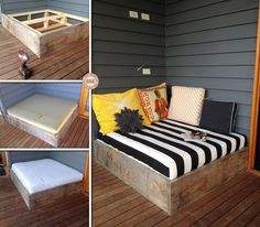 Day bed. Exactly what I want in my lounge, but with sides around it so the pillows don't fall onto the floor.
