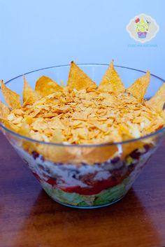 meksykański król imprezy salatka Nachos, Guacamole, Food And Drink, Pudding, Mexican, Ethnic Recipes, Kitchen, Desserts, Tailgate Desserts