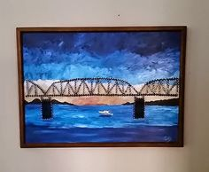 Custom string art with painted Mississippi river background and bridge put together with string and nails would be great home decor in any home. or a unique gift for a birthday or christmas. heART of Sarah: STRING ART