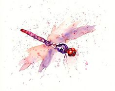 DRAGONFLY by DIMDI Original watercolour painting 10x8inch by dimdi, $25.00