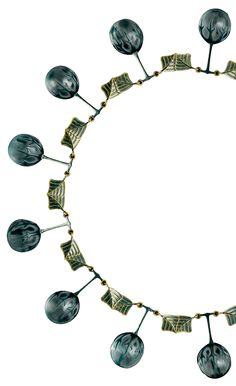 Foliate Necklace by René Lalique, c.1990, French. Gold, glass and enamel necklace, the links composed of stylised green leaves hung with thirteen glass buds attached to stems and gripped by thorns.