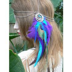 head chain peacock purple feather head chain headdress halo head piece in tribal Native American boho gypsy hippie hipster style