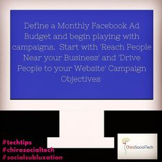#TechTips Define a Monthly Budget for Facebook Ads.  Start small and work your way up.  Break the budget up and start playing around with the Facebook Ads Platform to 1. Learn it 2.  Test Audiences 3. Learn what content performs better 4. Get a better idea of options available to you  For a detailed Facebook Ad Strategy contact a ChiroSocialTech at nicole@chirosocialtech.com or (415) 529-4338