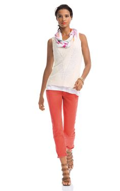 My customers LOVE this outfit! The Pigment Jeggings $108 in a color we call lobster topped with the Net Sweater $84 layered over the Linen Tank $69 - and jazz up any outfit with our exclusive Everyday Scarf $49. Perfect spring to summer outfit! #cabispring14 #cabiaddict