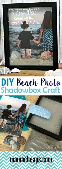 DIY Beach Photo Shadowbox Craft - super cute and frugal way to preserve vacation memories! Find more great DIY craft ideas on Beach Shadow Boxes, Diy Shadow Box, Seashell Shadow Boxes, Shadow Box Memory, Beach Foto, Beach Keepsakes, Beach Pink, Licht Box, Crafts For Kids