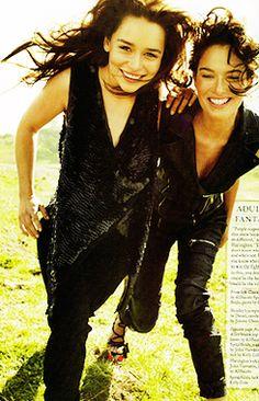 Emilia Clarke and Lena Headey in Rolling Stone magazine, Game of Thrones fashion shoot.