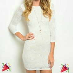 White lace holiday dress **PLEASE DON'T BUY THIS LISTING ** Comment which size you want and I'll create you your own listing :)  Sexy white dress with lace look eyelet.  Made in USA  Size small, medium and large available boutique  Dresses Mini