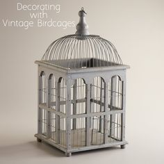 Decorating with Vintage Birdcages can be fun.
