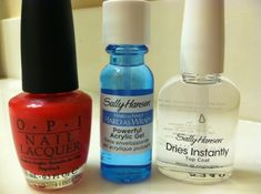 DIY Gel Nails! This is amazing! I found it on here and I figured I would pin my results for everyone to see. Directions: 1. On clean, dry nails, apply one coat of the Powerful Acrylic Gel and let dry. 2. Apply one or two layers of your favorite polish and let dry. 3. Apply Dries Instantly Top Coat and let dry! That's it! by mara