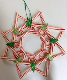 Candy cane wreath by MarysPinkPolkaDots on Etsy, $10.00