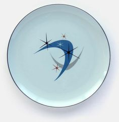 Vintage mid-century modern Ballerina Mist plate says underneath: Universal, Oven-Proof, Union Made in U.S.A. It's 10 inches in diameter. From 'On the Table' at the web's largest private collection of antiques & collectibles: http://www.ericwrobbel.com/collections/table-1.htm