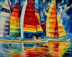 Sea Regatta — Sail Oil Painting By Leonid Afremov. Sea Wall Art, Ocean Wall Decor, Boat Artwork, Seascape Fine Art, Size: X Oil Painting On Canvas, Painting Prints, Canvas Wall Art, Canvas Prints, Art Prints, Abstract Canvas, City Painting, Acrylic Canvas, Painting Abstract