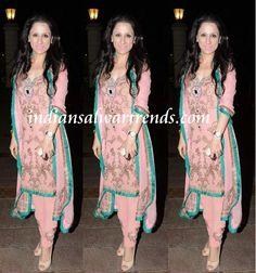 Latest Salwar and Designer Dresses: Light pink short salwar kameez