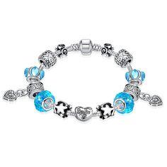 Aquamarine Crystal Smile Pandora Inspired Bracelet Made with Swarovski Elements