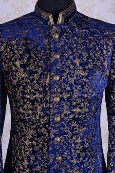 Wedding Sherwani-Royal Blue-Zari Work-IW678