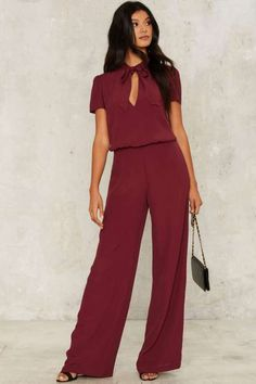 Nasty Gal Jones to the Rhythm Pussybow Jumpsuit