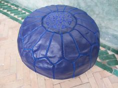 Indigo blue pouf