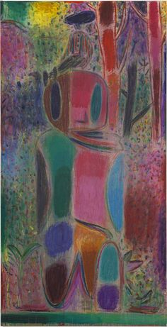 Tal R Man on mighty, 2012 Rabbit glue, pigment and crayon on canvas, 172 x 88 cm