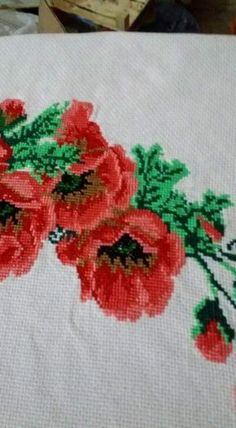 Ribbon Work, Diy And Crafts, Cross Stitch, Canvas, Sewing, Handmade, Painting, Roses, Cross Stitch Embroidery