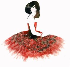 Illustrious: Black & White & Red All Over III by Chinese Fashion Illustrator Pomme Chan. Born & educated in Bangkok, she completed a BA in Interior Design & Graphic Design at the London College of Communication Advertising.