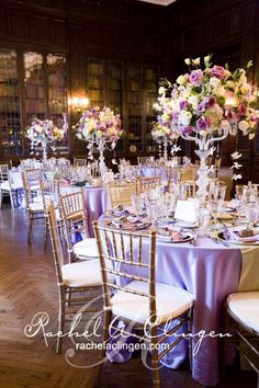 Chic Gold, Aqua, and Lavender Wedding | Table numbers, Centerpieces ...