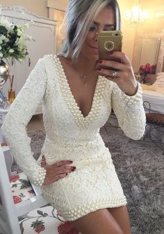 Short Sheath V-Neck Lace Homecoming Dresses Long Sleeves Backless Cocktail Dresses_Homecoming Dresses_Special Occasion Dresses_Buy High Quality Dresses from Dress Factory Long Sleeve Homecoming Dresses, Long Sleeve Evening Dresses, Prom Dresses With Sleeves, Dress Long, Evening Gowns, Women's Dresses, Dresses Short, Dresses 2016, Cheap Dresses