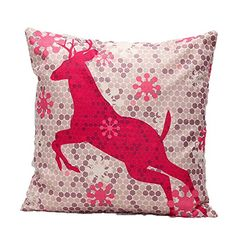 Ikeelife Linen Throw Pillow Case Cushion Cover Pillowslip Bench Bed Decor Christmas Pink Deer 454503cm ** This is an Amazon Affiliate link. For more information, visit image link.